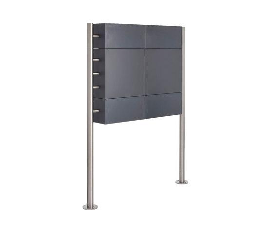 Basic | 2er Standbriefkasten Design BASIC 381 ST-R mit Klingelkasten & Zeitungsablage - RAL 7016 anthrazit 100mm Tiefe by Briefkasten Manufaktur | Mailboxes