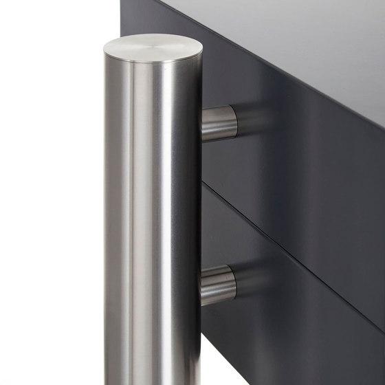 Basic | 2er Standbriefkasten Design BASIC 385220 ST-R mit Klingelkasten - RAL 7016 anthrazitgrau by Briefkasten Manufaktur | Mailboxes