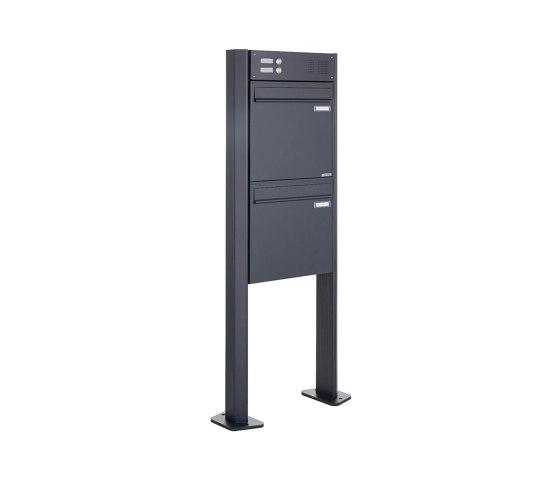 Basic | 2er Zaunbriefkasten freistehend BASIC 380Z-P mit Klingelkasten- RAL 7016 anthrazitgrau by Briefkasten Manufaktur | Mailboxes