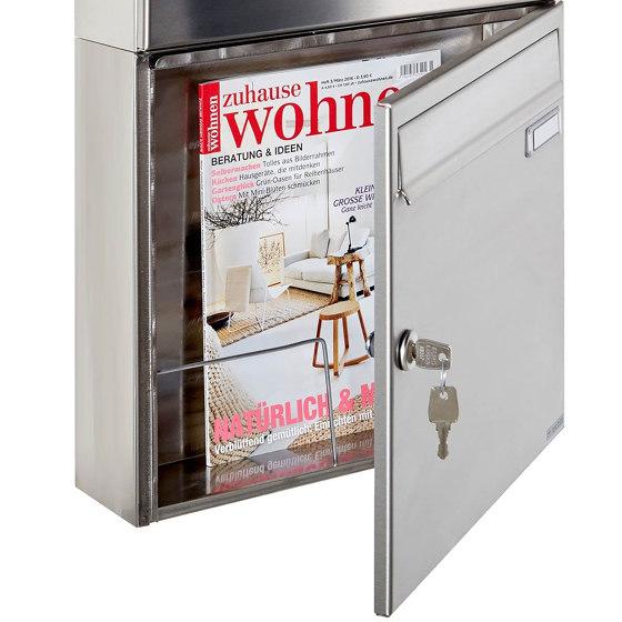 Basic | 3er 3x1 Edelstahl Aufputz Briefkasten BASIC 382A AP mit Zeitungsfach by Briefkasten Manufaktur | Mailboxes