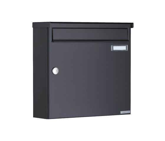 Basic   3er Aufputz Briefkasten Design BASIC 382A AP mit Klingelkasten - RAL 7016 anthrazitgrau Oben 100mm Tiefe by Briefkasten Manufaktur   Mailboxes