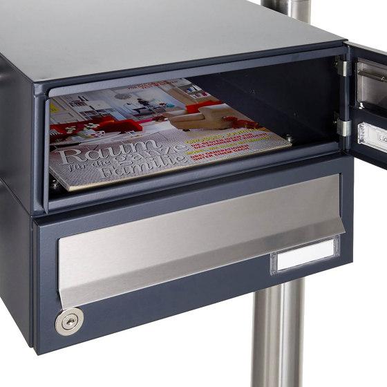 Basic | 3er Aufputz Briefkastenanlage Design BASIC 385A AP mit Klingelkasten - Edelstahl-RAL 7016 anthrazit by Briefkasten Manufaktur | Mailboxes
