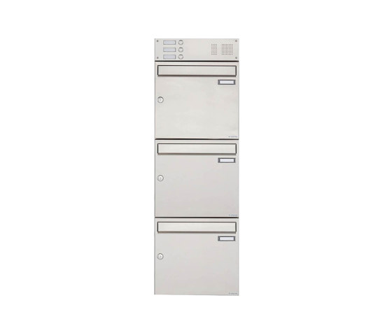 Basic | 3er Edelstahl Aufputz Briefkasten Design BASIC 382A AP mit Klingelkasten Oben 100mm Tiefe by Briefkasten Manufaktur | Mailboxes