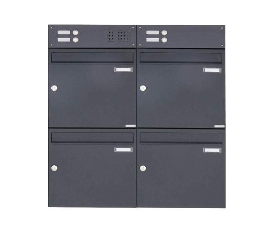 Basic | 4er Aufputz Briefkasten Design BASIC 382A AP mit Klingelkasten - RAL 7016 anthrazitgrau Oben 100mm Tiefe by Briefkasten Manufaktur | Mailboxes