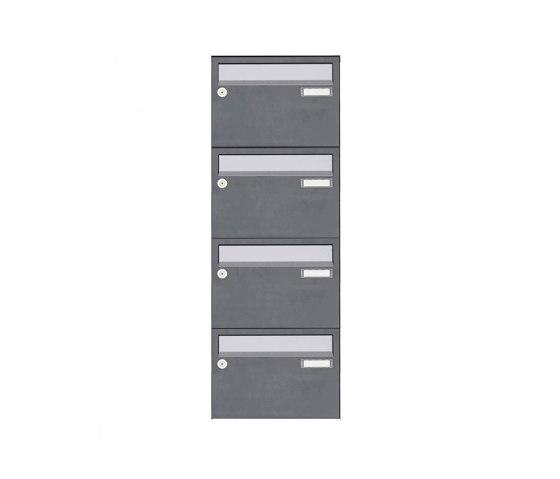 Basic | 4er Aufputz Briefkastenanlage Design BASIC Plus 385 XA 220 - Edelstahl - RAL nach Wahl by Briefkasten Manufaktur | Mailboxes