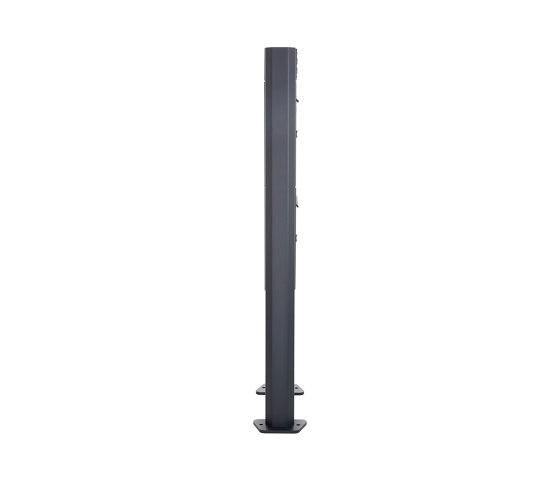 Basic | 5er 3x2 Standbriefkasten Design BASIC 380 ST-T - RAL 7016 anthrazitgrau 100mm Tiefe by Briefkasten Manufaktur | Mailboxes
