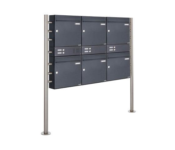 Basic | 6er 2x3 Standbriefkasten Design BASIC 381 ST-R mit Klingelkasten - RAL 7016 anthrazitgrau Oben 100mm Tiefe by Briefkasten Manufaktur | Mailboxes