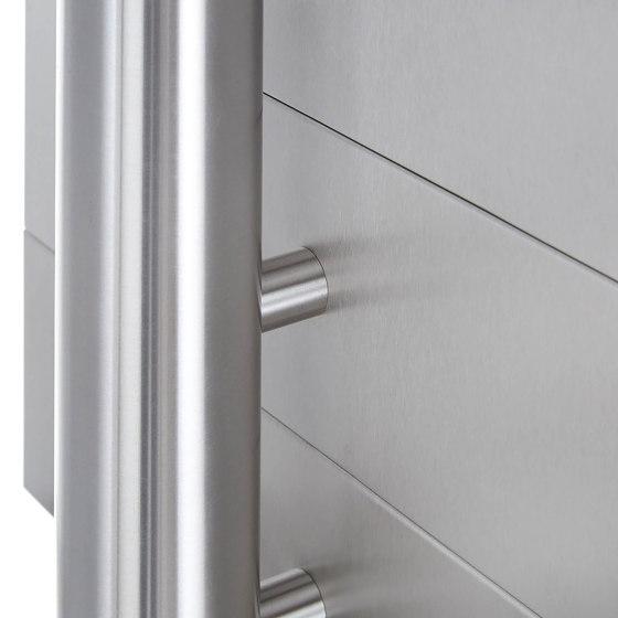 Basic | 7er Briefkastenanlage freistehend Design BASIC 385 ST-R - Edelstahl V2A, geschliffen by Briefkasten Manufaktur | Mailboxes