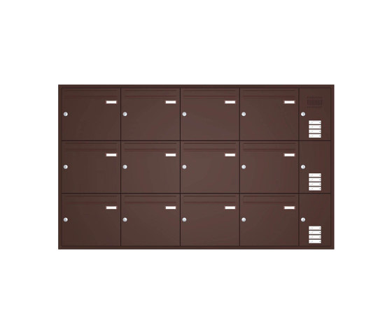 Basic | Unterputz Briefkastenanlage BASIC 534 - Pulverbeschichtet- Klingel- Sprechstelle - 12 Parteien Rechts by Briefkasten Manufaktur | Mailboxes