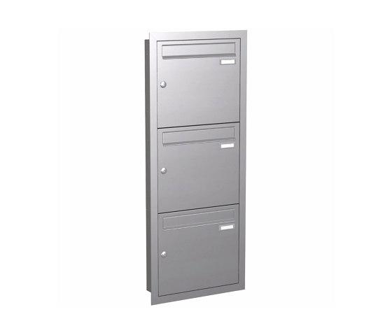 Basic | Unterputz Briefkastenanlage BASIC 534 UP - Edelstahl V2A geschliffen - 3 Partei - 3x1 by Briefkasten Manufaktur | Mailboxes