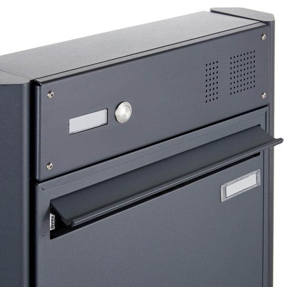 Basic   Zaunbriefkasten BASIC 382Z - RAL 7016 anthrazitgrau - mit Klingelkasten - Entnahme rückseitig Oben by Briefkasten Manufaktur   Mailboxes