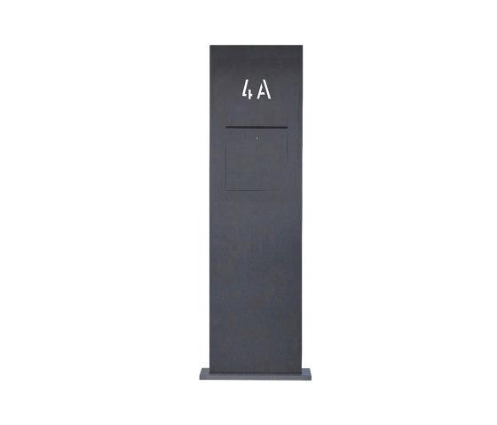 Designer | Edelstahl Briefkastensäule Designer BIG - Hausnummer hinterbeleuchtet - RAL nach Wahl - INDIVIDUELL by Briefkasten Manufaktur | Mailboxes