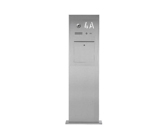 Designer | Edelstahl Briefkastensäule Designer BIG mit Hausnummer hinterbeleuchtet - INDIVIDUELL by Briefkasten Manufaktur | Mailboxes