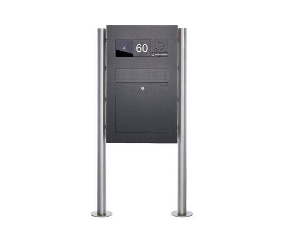 Designer | Edelstahl Standbriefkasten Designer BIG - RAL nach Wahl - GIRA System 106 - 3-fach vorbereitet RAL 7016 anthrazitgrau feinstruktur matt by Briefkasten Manufaktur | Mailboxes