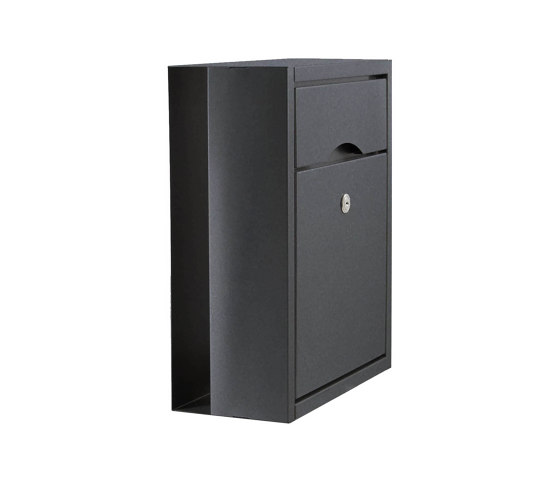 Premium | Aufputz Briefkasten PREMIUM SMALL AP aus Edelstahl, pulverbeschichtet in RAL ohne Zeitungsfach, rückseitig by Briefkasten Manufaktur | Mailboxes