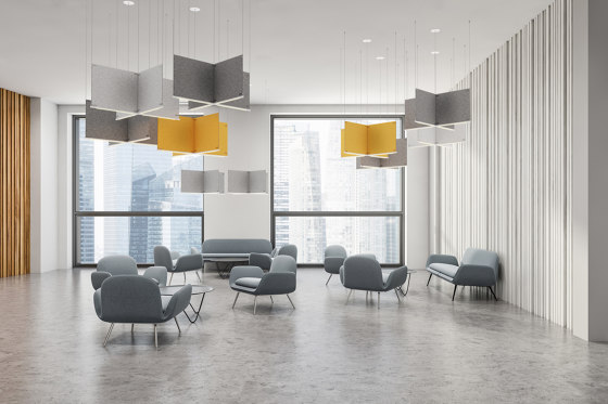 Acoustic Panels, Vertical by Koncept | Sound absorbing suspended panels