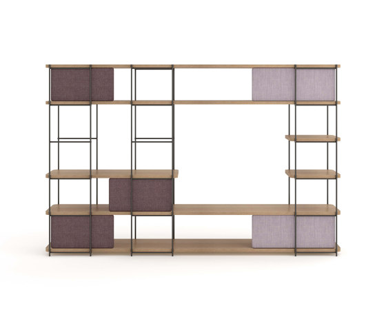 Julia Bookcase - TV cabinet set funiture with upholstery sliding panels by Momocca | Shelving