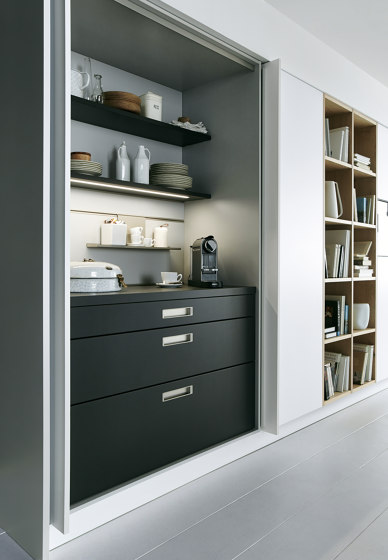NX 510 Alpine white matt velvet by next125   Fitted kitchens