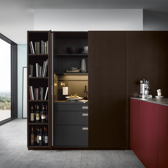 NX 640 Elegant oak tobacco by next125   Fitted kitchens
