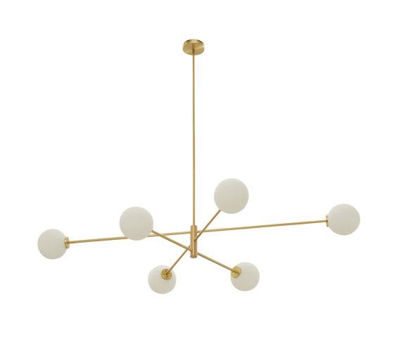Trevi pendant 6 satin brass by CTO Lighting | Suspended lights