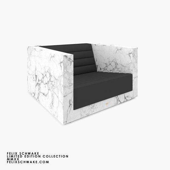 ARMCHAIR – FS 403 Arabescato Marble, White by RECHTECK FELIX SCHWAKE | Armchairs
