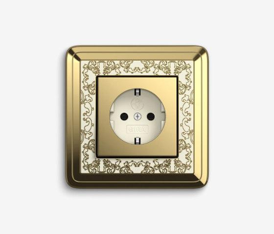ClassiX   Socket outlet Art Brass cream white by Gira   Schuko sockets