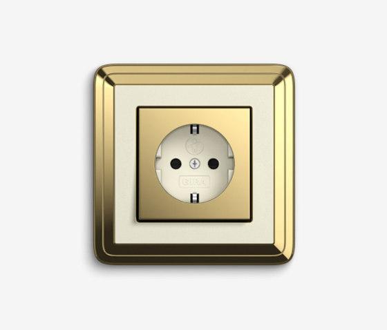 ClassiX   Socket outlet Brass cream white by Gira   Schuko sockets