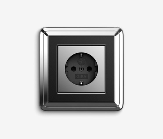 ClassiX   Socket outlet Chrome black by Gira   Schuko sockets