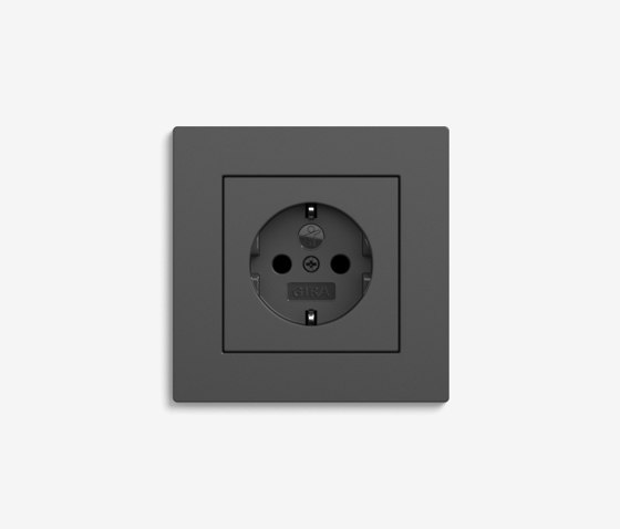 E2 Flat installation | Socket outlet Anthracite by Gira | Schuko sockets