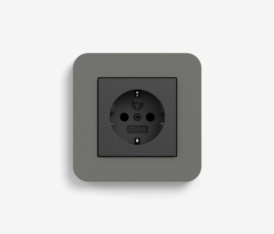 E3 | Socket outlet Dark grey with black by Gira | Schuko sockets