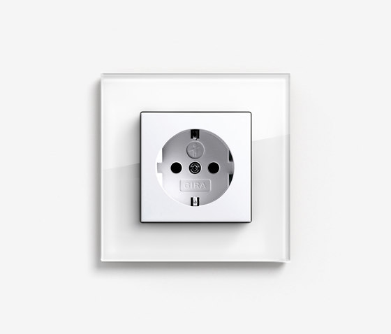 Esprit Glass   Socket outlet Glass white by Gira   Schuko sockets