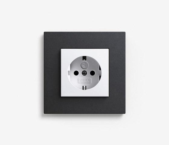 Esprit Linoleum-Plywood   Socket outlet Anthracite by Gira   Schuko sockets