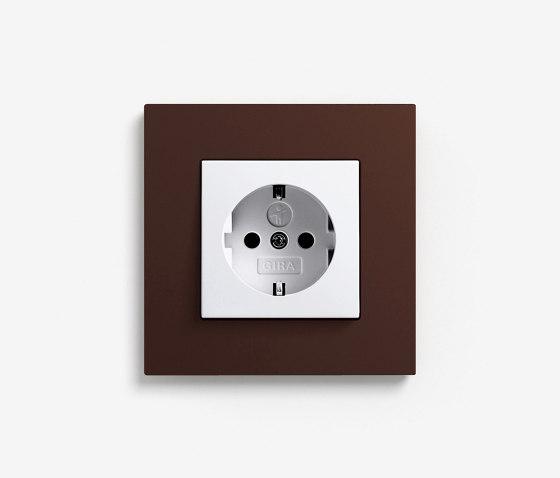 Esprit Linoleum-Plywood | Socket outlet Dark brown by Gira | Schuko sockets