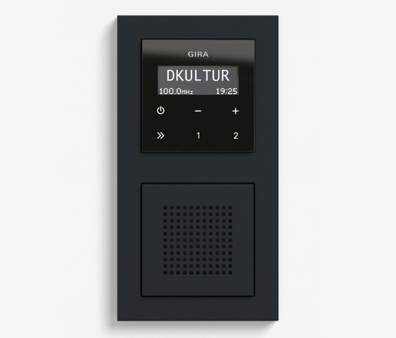 Entertainment   RDS flush-mounted radio with a speaker   Black glass appearance (including E2) by Gira   Radio systems