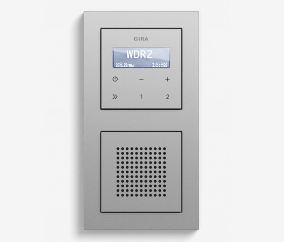 Entertainment   RDS flush-mounted radio with a speaker   Colour aluminium (including E2) by Gira   Radio systems
