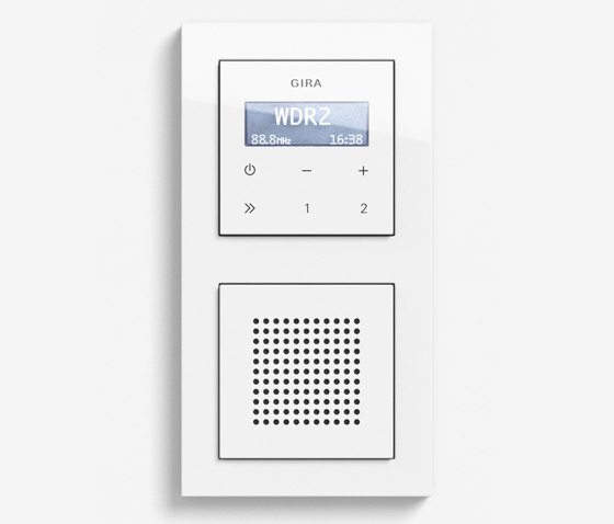 Entertainment | RDS flush-mounted radio with a speaker | Pure white glossy (including E2) by Gira | Radio systems