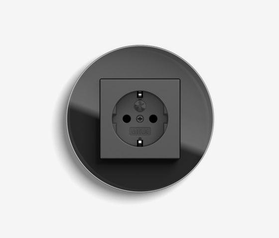 Studio | Socket outlet Glass black by Gira | Schuko sockets