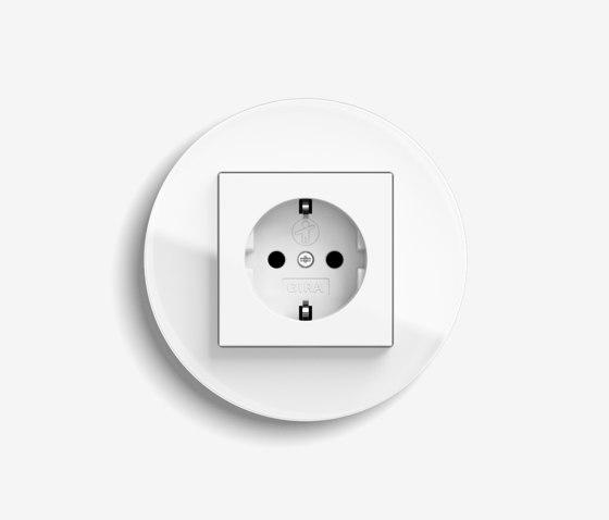 Studio | Socket outlet Glass white by Gira | Schuko sockets