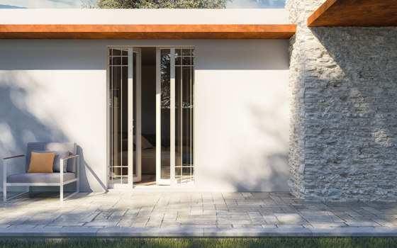 BELLAVISTA Sliding system for gate or shutter with insulation by Ermetika | Patio doors