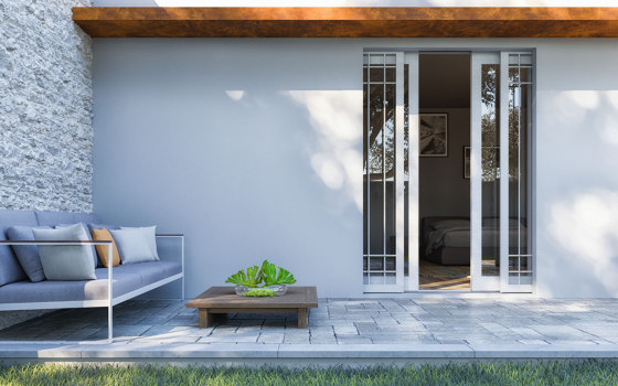 MAXIMA Sliding system for double inner window and outward gate or shutter by Ermetika | Patio doors