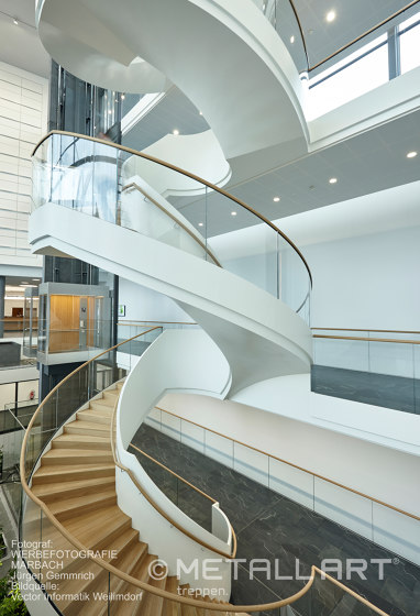 Elegant spiral staircase at Vector in Stuttgart-Weilimdorf by MetallArt Treppen | Staircase systems