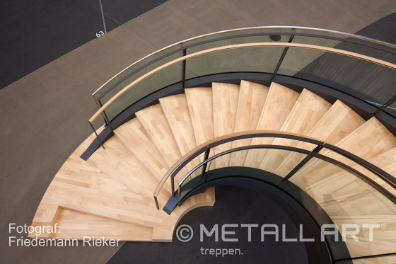 Design stairs featuring glass railings at Daimler in Sindelfingen by MetallArt Treppen | Staircase systems