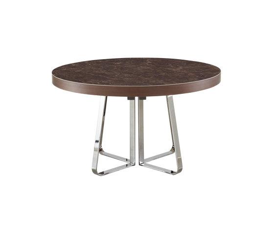 Ava | Table De Repas Plateau Gres Cerame Emperador + Allonge Assortie Pietement Chromé Brillant de Ligne Roset | Tables de repas