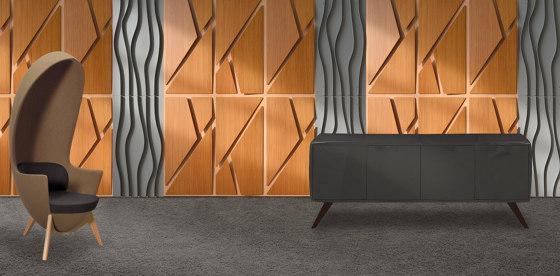 Deta Panel Grey Lacquer Matte & Teak by Mikodam | Wood panels