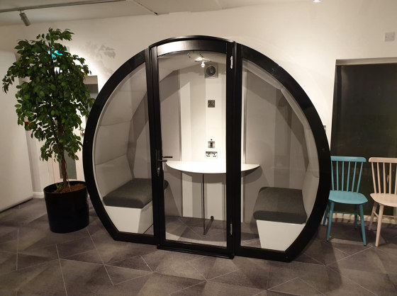 Meeting Box with Front Glass Enclosure and Solid Back Panel by The Meeting Pod | Office Pods
