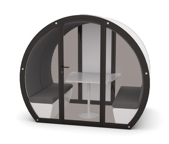 4 Person Meeting Pod with Front Glass Enclosure and Glass Back Panel by The Meeting Pod | Office Pods