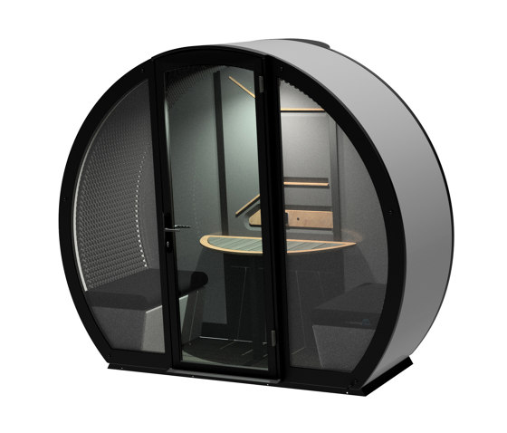 2 Person Outdoor Pod withFront Glass Enclosure and Back Panel by The Meeting Pod   Office Pods