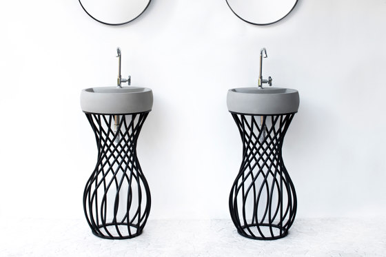 Twin Light Grey Concrete with black powdercoated frame - Washstand by ConSpire | Wash basins