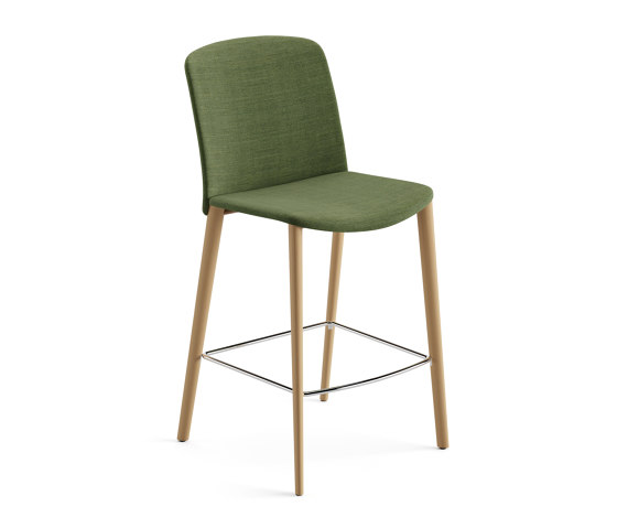 Mixu   Counter stool 4 wood legs, upholstered by Arper   Bar stools
