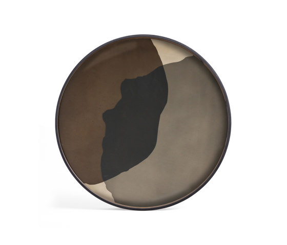 Translucent Silhouettes tray collection | Graphite Combined Dots glass tray - round - XL by Ethnicraft | Trays